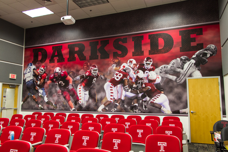 Football training facility team room. Temple.