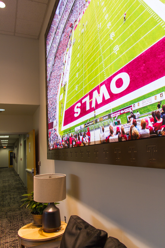 Reception area, Temple football.