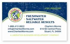 charlie's worms business card