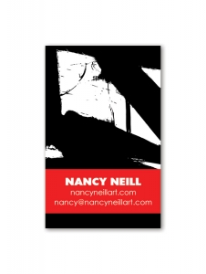 Nancy Neill business card design on mylar