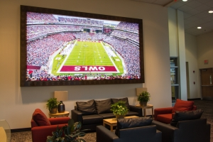 Temple Football backlit wall display